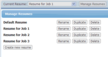 manage multiple resumes - Resume Builder Online